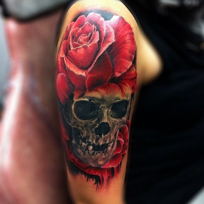 attractive-rose-skull-arm-tattoo-design